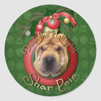 Christmas - Deck the Halls - Shar Peis Round Sticker