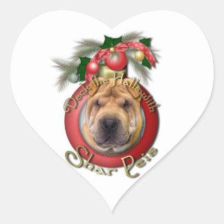 Christmas - Deck the Halls - Shar Peis Heart Sticker