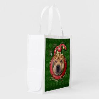 Christmas - Deck the Halls - Shar Peis Reusable Grocery Bags