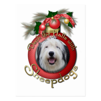 Christmas - Deck the Halls - Sheepdogs Postcard