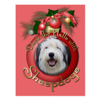 Christmas - Deck the Halls - Sheepdogs Post Cards