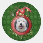 Christmas - Deck the Halls - Sheepdogs Round Sticker