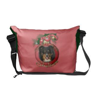 Christmas - Deck the Halls - Shelties - Chani Messenger Bag