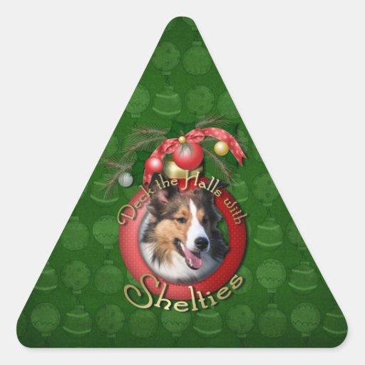 Christmas - Deck the Halls - Shelties Triangle Sticker