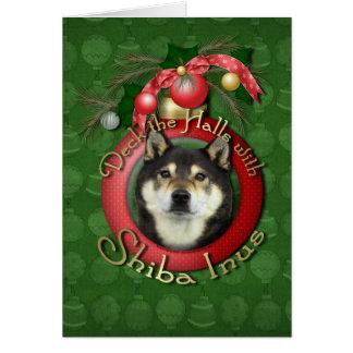 Christmas - Deck the Halls - Shiba Inus - Yasha Greeting Card