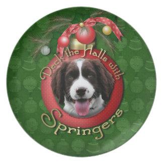 Christmas - Deck the Halls Springer Spaniel Baxter Party Plates