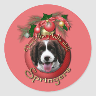 Christmas - Deck the Halls Springer Spaniel Baxter Round Stickers