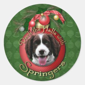 Christmas - Deck the Halls Springer Spaniel Baxter Round Sticker