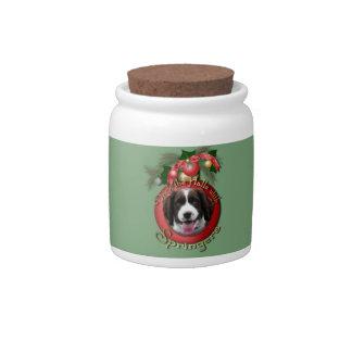 Christmas - Deck the Halls Springer Spaniel Baxter Ceramic Sweet Jar
