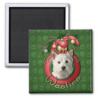 Christmas - Deck the Halls - Westies Fridge Magnet