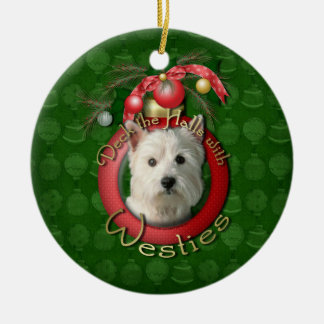 Christmas - Deck the Halls - Westies Round Ceramic Decoration