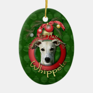 Christmas - Deck the Halls - Whippets Ceramic Oval Decoration