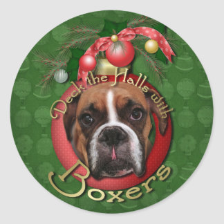 Christmas - Deck the Halls with Boxers - Marnie Classic Round Sticker