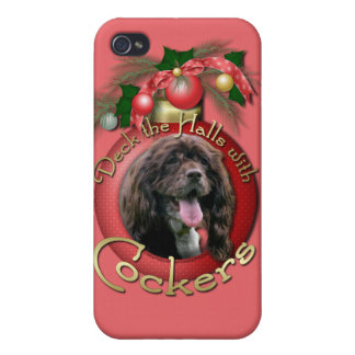 Christmas - Deck the Halls with Cockers iPhone 4 Cover