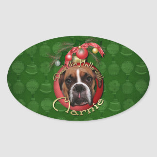 Christmas - Deck the Halls with Marnie Oval Sticker