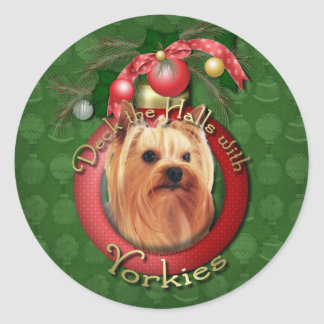 Christmas - Deck the Halls - Yorkies Round Stickers