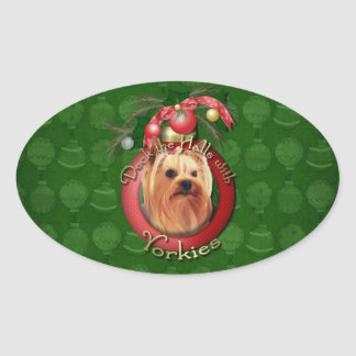 Christmas - Deck the Halls - Yorkshire Terrier Oval Sticker
