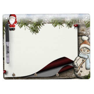 Christmas decoration dry erase board with key ring holder