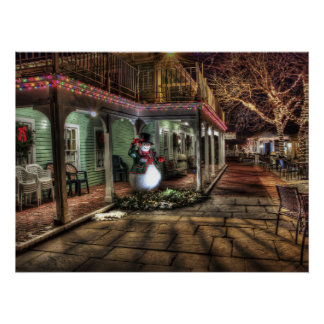 Christmas Decoration in City with Snowman by House Poster