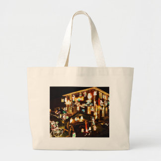 Christmas Decoration On One House Canvas Bags