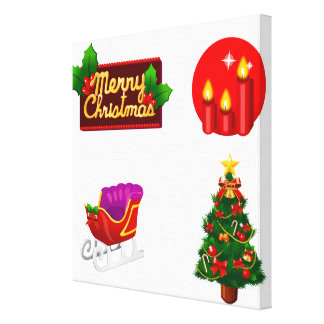 Christmas decorations against white background canvas print