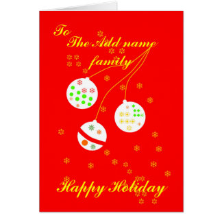 Christmas decorations and Stars add name front Greeting Card