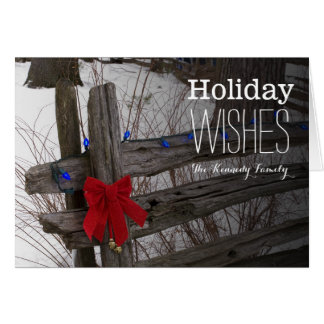 Christmas decorations on an old wooden fence greeting card