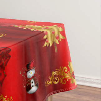 Christmas Decorations on Red Tablecloth