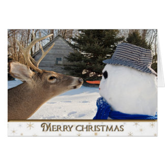 Christmas Deer and Snowman Greeting Card