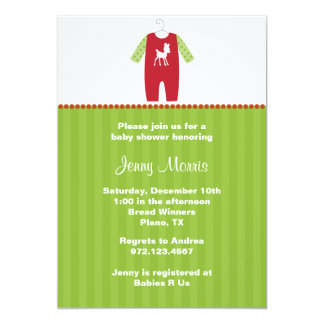 Christmas Deer Baby Shower Invitations