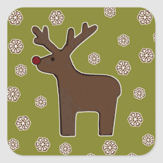 Christmas deer! green square sticker