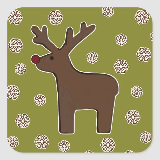 Christmas deer! green square sticker