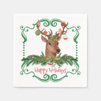 Christmas Deer Happy Holidays Frame Disposable Serviette