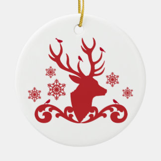 Christmas deer head with birds snowflakes christmas ornament