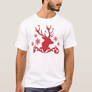 Christmas deer head with birds snowflakes T-Shirt