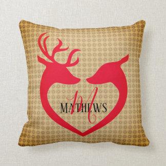 Christmas Deer Heart Vintage Name Monogram Pillow