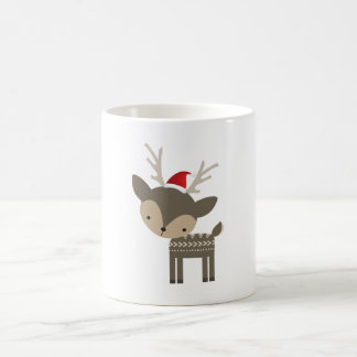 Christmas deer in a red santa hat retro hipster basic white mug