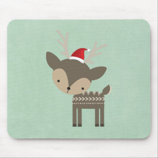Christmas Deer In A Red Santa Hat Retro Hipster Mouse Pad