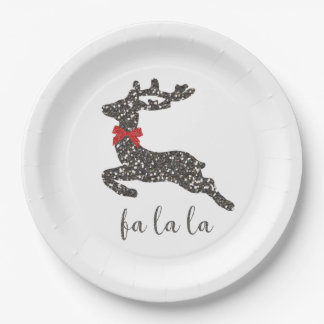 Christmas Deer in Red Bow Paper Plate