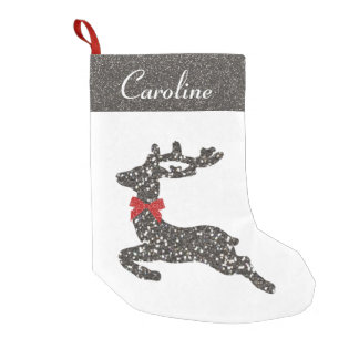 Christmas Deer in Red Bow Small Christmas Stocking