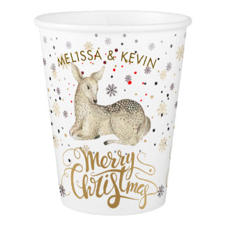 Christmas Deer & Merry Christmas Typography Paper Cup