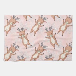 Christmas Deer Pattern Tea Towel