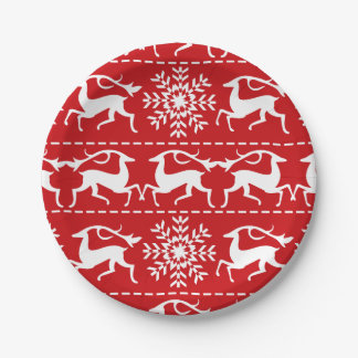 Christmas Deer Red and White Holiday Pattern Paper Plate