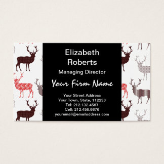 Christmas Deer / Reindeer Decorative Pattern Business Card