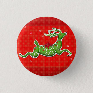 CHRISTMAS DEER SMALL BUTTON 1¼ Inch
