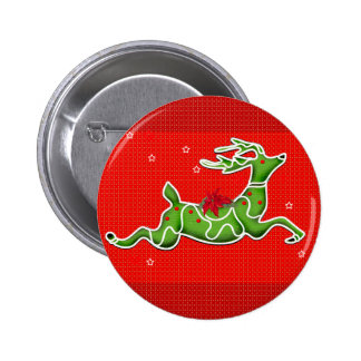 CHRISTMAS DEER SMALL BUTTON 2¼ Inch