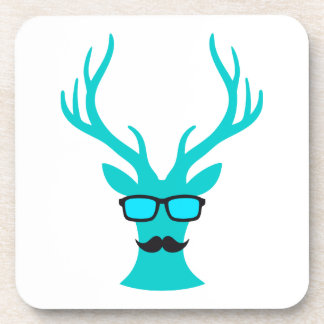 Christmas deer with mustache and nerd glasses coaster