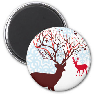 Christmas Deer with tree branch antlers Fridge Magnets