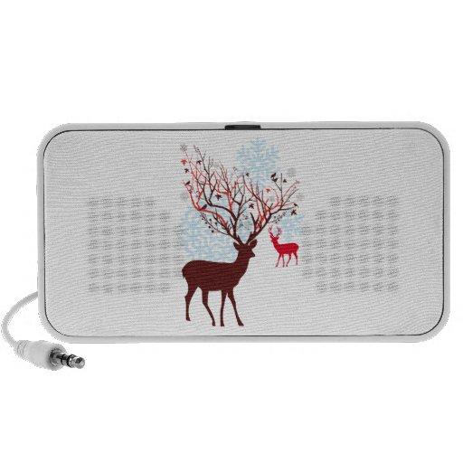 Christmas Deer with tree branch antlers iPhone Speakers