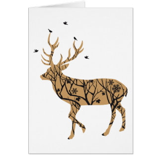 Christmas deer with winter tree pattern and birds greeting card